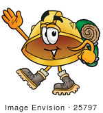 #25797 Clip Art Graphic Of A Yellow Safety Hardhat Cartoon Character Hiking And Carrying A Backpack