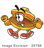 #25798 Clip Art Graphic Of A Yellow Safety Hardhat Cartoon Character Speed Walking Or Jogging