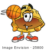 #25800 Clip Art Graphic Of A Yellow Safety Hardhat Cartoon Character Spinning A Basketball On His Finger