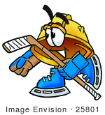 #25801 Clip Art Graphic Of A Yellow Safety Hardhat Cartoon Character Playing Ice Hockey
