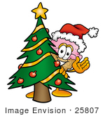 #25807 Clip Art Graphic Of A Strawberry Ice Cream Cone Cartoon Character Waving And Standing By A Decorated Christmas Tree