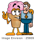 #25809 Clip Art Graphic Of A Strawberry Ice Cream Cone Cartoon Character Talking To A Business Man