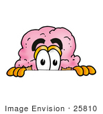 #25810 Clip Art Graphic Of A Strawberry Ice Cream Cone Cartoon Character Peeking Over A Surface