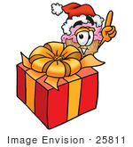 #25811 Clip Art Graphic Of A Strawberry Ice Cream Cone Cartoon Character Standing By A Christmas Present