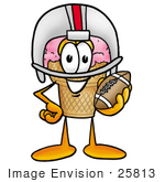#25813 Clip Art Graphic Of A Strawberry Ice Cream Cone Cartoon Character In A Helmet Holding A Football