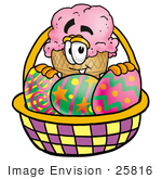 #25816 Clip Art Graphic Of A Strawberry Ice Cream Cone Cartoon Character In An Easter Basket Full Of Decorated Easter Eggs