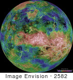 #2582 Hemispheric View Of Venus Centered At 90 Degrees East Longitude