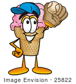 #25822 Clip Art Graphic Of A Strawberry Ice Cream Cone Cartoon Character Catching A Baseball With A Glove