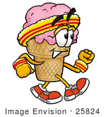 #25824 Clip Art Graphic of a Strawberry Ice Cream Cone Cartoon Character Speed Walking or Jogging by toons4biz