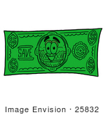 #25832 Clip Art Graphic Of A Strawberry Ice Cream Cone Cartoon Character On A Dollar Bill