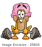 #25833 Clip Art Graphic Of A Strawberry Ice Cream Cone Cartoon Character Lifting A Heavy Barbell