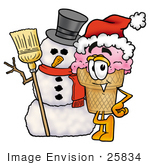 #25834 Clip Art Graphic Of A Strawberry Ice Cream Cone Cartoon Character With A Snowman On Christmas