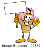 #25837 Clip Art Graphic Of A Strawberry Ice Cream Cone Cartoon Character Holding A Blank Sign