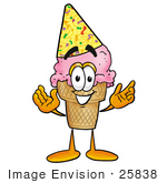 #25838 Clip Art Graphic Of A Strawberry Ice Cream Cone Cartoon Character Wearing A Birthday Party Hat