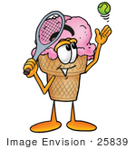 #25839 Clip Art Graphic Of A Strawberry Ice Cream Cone Cartoon Character Preparing To Hit A Tennis Ball