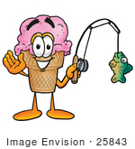 #25843 Clip Art Graphic Of A Strawberry Ice Cream Cone Cartoon Character Holding A Fish On A Fishing Pole