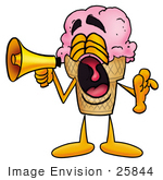#25844 Clip Art Graphic Of A Strawberry Ice Cream Cone Cartoon Character Screaming Into A Megaphone