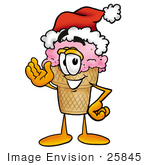 #25845 Clip Art Graphic Of A Strawberry Ice Cream Cone Cartoon Character Wearing A Santa Hat And Waving