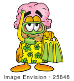 #25848 Clip Art Graphic Of A Strawberry Ice Cream Cone Cartoon Character In Green And Yellow Snorkel Gear