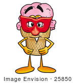 #25850 Clip Art Graphic Of A Strawberry Ice Cream Cone Cartoon Character Wearing A Red Mask Over His Face