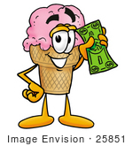 #25851 Clip Art Graphic Of A Strawberry Ice Cream Cone Cartoon Character Holding A Dollar Bill