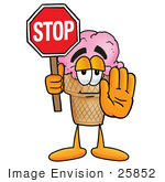 #25852 Clip Art Graphic Of A Strawberry Ice Cream Cone Cartoon Character Holding A Stop Sign