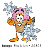 #25853 Clip Art Graphic Of A Strawberry Ice Cream Cone Cartoon Character With Three Snowflakes In Winter