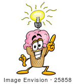 #25858 Clip Art Graphic Of A Strawberry Ice Cream Cone Cartoon Character With A Bright Idea