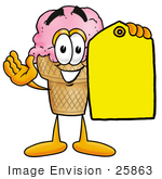 #25863 Clip Art Graphic Of A Strawberry Ice Cream Cone Cartoon Character Holding A Yellow Sales Price Tag