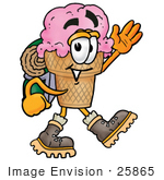 #25865 Clip Art Graphic Of A Strawberry Ice Cream Cone Cartoon Character Hiking And Carrying A Backpack