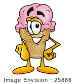 #25866 Clip Art Graphic Of A Strawberry Ice Cream Cone Cartoon Character Pointing At The Viewer