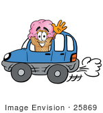 #25869 Clip Art Graphic Of A Strawberry Ice Cream Cone Cartoon Character Driving A Blue Car And Waving