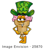 #25870 Clip Art Graphic Of A Strawberry Ice Cream Cone Cartoon Character Wearing A Saint Patricks Day Hat With A Clover On It