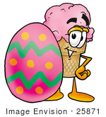 #25871 Clip Art Graphic Of A Strawberry Ice Cream Cone Cartoon Character Standing Beside An Easter Egg