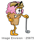 #25875 Clip Art Graphic Of A Strawberry Ice Cream Cone Cartoon Character Leaning On A Golf Club While Golfing