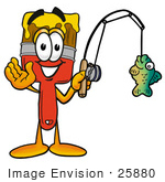 #25880 Clip Art Graphic Of A Red Paintbrush With Yellow Paint Cartoon Character Holding A Fish On A Fishing Pole