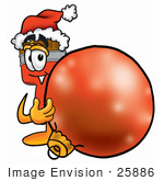 #25886 Clip Art Graphic Of A Red Paintbrush With Yellow Paint Cartoon Character Wearing A Santa Hat Standing With A Christmas Bauble