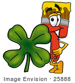 #25888 Clip Art Graphic Of A Red Paintbrush With Yellow Paint Cartoon Character With A Green Four Leaf Clover On St Paddy'S Or St Patricks Day