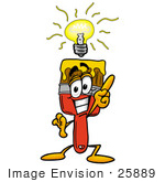 #25889 Clip Art Graphic of a Red Paintbrush With Yellow Paint Cartoon Character With a Bright Idea by toons4biz