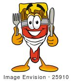 #25910 Clip Art Graphic Of A Red Paintbrush With Yellow Paint Cartoon Character Holding A Knife And Fork