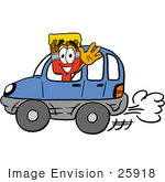 #25918 Clip Art Graphic Of A Red Paintbrush With Yellow Paint Cartoon Character Driving A Blue Car And Waving