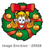#25928 Clip Art Graphic Of A Red Paintbrush With Yellow Paint Cartoon Character In The Center Of A Christmas Wreath