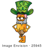 #25945 Clip Art Graphic Of A Yellow Number 2 Pencil With An Eraser Cartoon Character Wearing A Saint Patricks Day Hat With A Clover On It