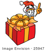 #25947 Clip Art Graphic Of A Yellow Number 2 Pencil With An Eraser Cartoon Character Standing By A Christmas Present