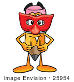 #25954 Clip Art Graphic of a Yellow Number 2 Pencil With an Eraser Cartoon Character Wearing a Red Mask Over His Face by toons4biz