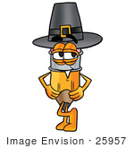 #25957 Clip Art Graphic Of A Yellow Number 2 Pencil With An Eraser Cartoon Character Wearing A Pilgrim Hat On Thanksgiving