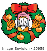 #25959 Clip Art Graphic Of A Yellow Number 2 Pencil With An Eraser Cartoon Character In The Center Of A Christmas Wreath