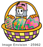 #25962 Clip Art Graphic Of A Yellow Number 2 Pencil With An Eraser Cartoon Character In An Easter Basket Full Of Decorated Easter Eggs
