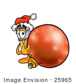 #25965 Clip Art Graphic Of A Yellow Number 2 Pencil With An Eraser Cartoon Character Wearing A Santa Hat Standing With A Christmas Bauble