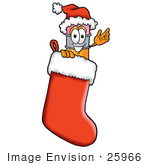 #25966 Clip Art Graphic Of A Yellow Number 2 Pencil With An Eraser Cartoon Character Wearing A Santa Hat Inside A Red Christmas Stocking